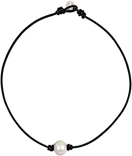 Single Pearl Choker Necklace on Genuine Leather Cord Handmade Jewelry Gift