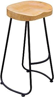 GBY, Inc. Taburete de Bar Estructura de Metal Negro y Estilo Industrial de Asiento de Madera Maciza, Taburete de Bar de Cocina Antiguo Vintage, Silla de Jefe