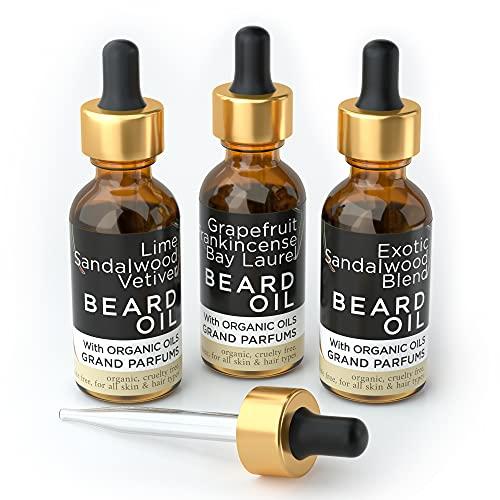 Grand Parfums MEN'S Beard Oil 3 Scents- 100% Organic & Natural Skin & Hair Conditioners Infused w/Essential Oils, Argan, Almond, Jojoba & Castor Oils – Softer, Stronger Beards (Sandalwood & Citrus)
