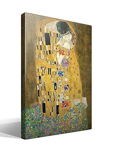 Cuadro Canvas El Beso de Gustav Klimt - Ancho: 70cm - Alto: 95cm - Bastidor: 3cm - Imagen Alta resolución - Impresión sobre Lienzo de Algodón 100% - Bastidor de Madera 3x3cm - Fabricado en España