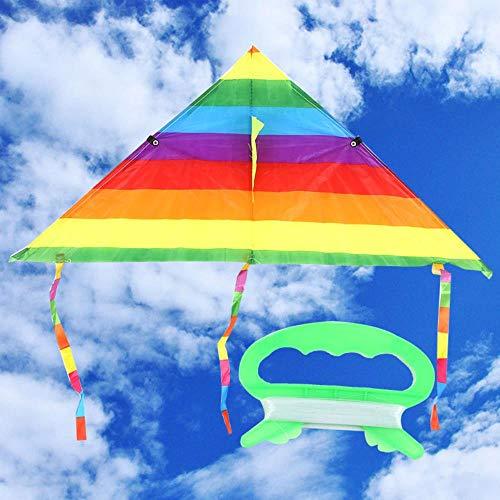 Larga Cola del Arco Iris de poliéster de Color de los Juguetes al Aire Libre para los niños dragón Cometa Volando Truco de Kitesurf con la Barra de Control y la línea