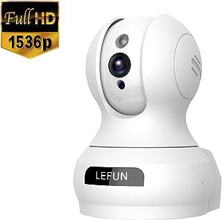 Lefun ネットワークカメラ 1536P 300万画素 防犯監視IPカメラ ベビーペットモニター WiFiワイヤレス無線カメラ オートトラッキング 顔検知 動体検知 高解像度 遠隔操作 警報通知 双方向音声 老人子供ペットみまもり留守番 暗視機能 録画可能 日本語アプリ 技適認証済み ホワイト
