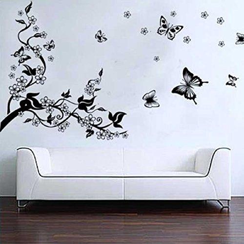 Feililong Romantici Stickers da Muro in 3D con Decalcomania di un Albero con Farfalle