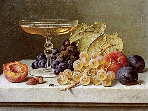 AFDRUKKEN-op-GEROLDE-CANVAS-Een-glas-champagne-en-druiven-Preyer-Emilie-Voedsel-Afbeelding-gedruckt-op-canvas-100%-katoen-Opgerolde-canvas-print-Kunstdruk-Afmeting-63_X_83_cm