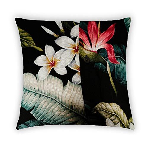 Funda de cojín Byron Hoyle, diseño de hojas tropicales, acuarela de algodón y lino, de lino y pájaro, diseño de flores y selvas, 18 x 18 pulgadas, decoración para el hogar para sofá, algodón, lino, P----2, 45*45cm