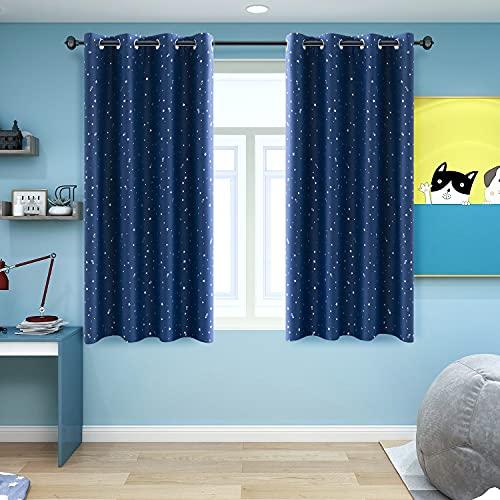 NAPEARL Gardinen Kinderzimmer Junge, Schöne Kinderzimmer Vorhänge mit Sternen, Kurz Blickdicht ösenvorhang für Schlafzimmer, 2er Set (2X H 137 X B 132cm, Dunkelblau)