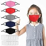 5Pcs Kids Reusable Washable Facial Cotton Covering Breathable Seamless Cotton Children-Includes 10Pcs Filters