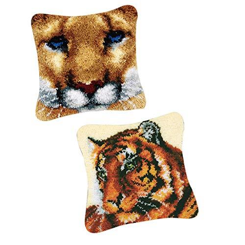 freneci 2 Juegos de Tigres DIY Bordado Funda de Almohada Pestillo Gancho Alfombra Almohadilla Cojín Kits