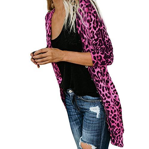 iHENGH Damen Herbst Winter Bequem Lässig Mode Frauen Langarm Leopard Print Mode Mantel Blusen T Shirt Tank Tops(XL,Pink)
