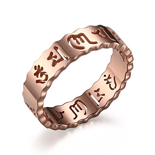 XUANPAI 18K Rose Gold Plated Stainless Steel Six Word Mantra Hollow Promise Ring for Men Women,Size 9