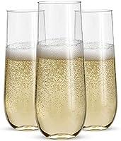 ステムレスプラスチックシャンパングラス 24個 - 9オンスプラスチックシャンパングラス | クリアプラスチック 壊れないトースティンググラス | 飛散防止 | 使い捨て | 結婚式やパーティーに最適