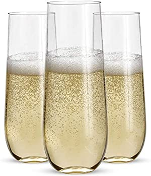 24 Stemless Plastic Champagne Flutes - 9 Oz Plastic Champagne Glasses | Clear Plastic Unbreakable | Toasting Glasses | Shatterproof | Disposable | Reusable Perfect For Wedding Or Party