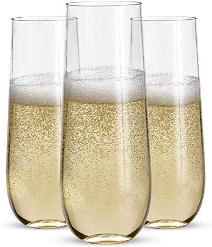 24 Stemless Plastic Champagne Flutes - 9 Oz Plastic Champagne Glasses | Clear Plastic Unbreakable Toasting Glasses | Shatterproof | Disposable | Reusable Perfect For Wedding Or Party