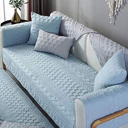 Jonist Funda de sofá para lijar, Antideslizante, cojín de Asiento Simple, Funda de Almohada, Funda de Almohada, Elegante, Duradera, Azul Claro, 70X150cm