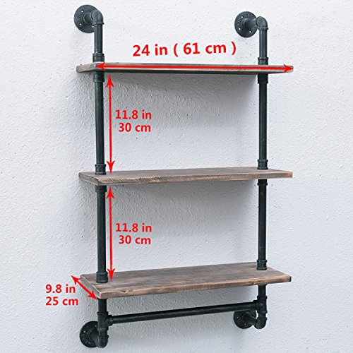 Womio Industrial Pipe Bathroom Shelves Wall Mounted with Towel Bar,24in Rustic Wall Decor Farmhouse,3 Tiered Towel Rack Metal Floating Shelves Towel Holder,Wall Shelf Over Toilet