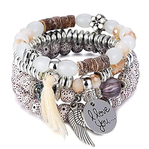 QUARTER 4 unids/set pulseras de cuentas de cristal conjunto para las mujeres pu vintage pulsera mujer joyería borla piedra natural pulsera regalo
