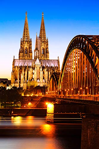 Bilderdepot24 Poster selbstklebend Kölner Dom - Deutschland - 50x75 cm - Wandposter Tapete Motivtapete - Hohenzollernbrücke am Rhein