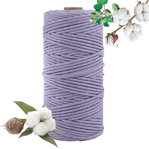 Hecha a Mano Craft Cuerda,Cordel de Algodón,natural trenzado algodon,Hilo Macramé,para Envolver Regalo Navidad Colgar Fotos Manualidades Costura (Púrpura-100M-3mm)