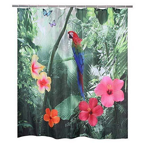ACAMPTAR 180X200Cm Polyester 3D Roter Papagei Dusch Vorhang 3D Wasser Fall Verdicken Stoff Bad Vorhang Wasserdicht Bad Vorhang