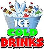 Harbour Signs Ice Cold Drinks Concession Restaurant Food Truck Exterior Vinyl Decal (24' x 21')