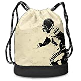 NoBrand Drawstring Backpack String Bag Casual, D3764 Rugby Player in Action Running Success in Arena Playground Sport Best Team Picture