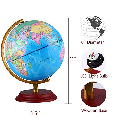 Illuminated World Globe With Wooden base Night View Stars Constellation Pattern Globe lamp For Kids with Detailed World Map Built-in LED Bulb No Battery Required Educational Gift Night Stand Decor