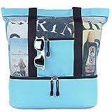 Taloit Sac fourre-tout en maille, sac de plage isotherme, compartiment de réfrigérateur, surdimensionné,...