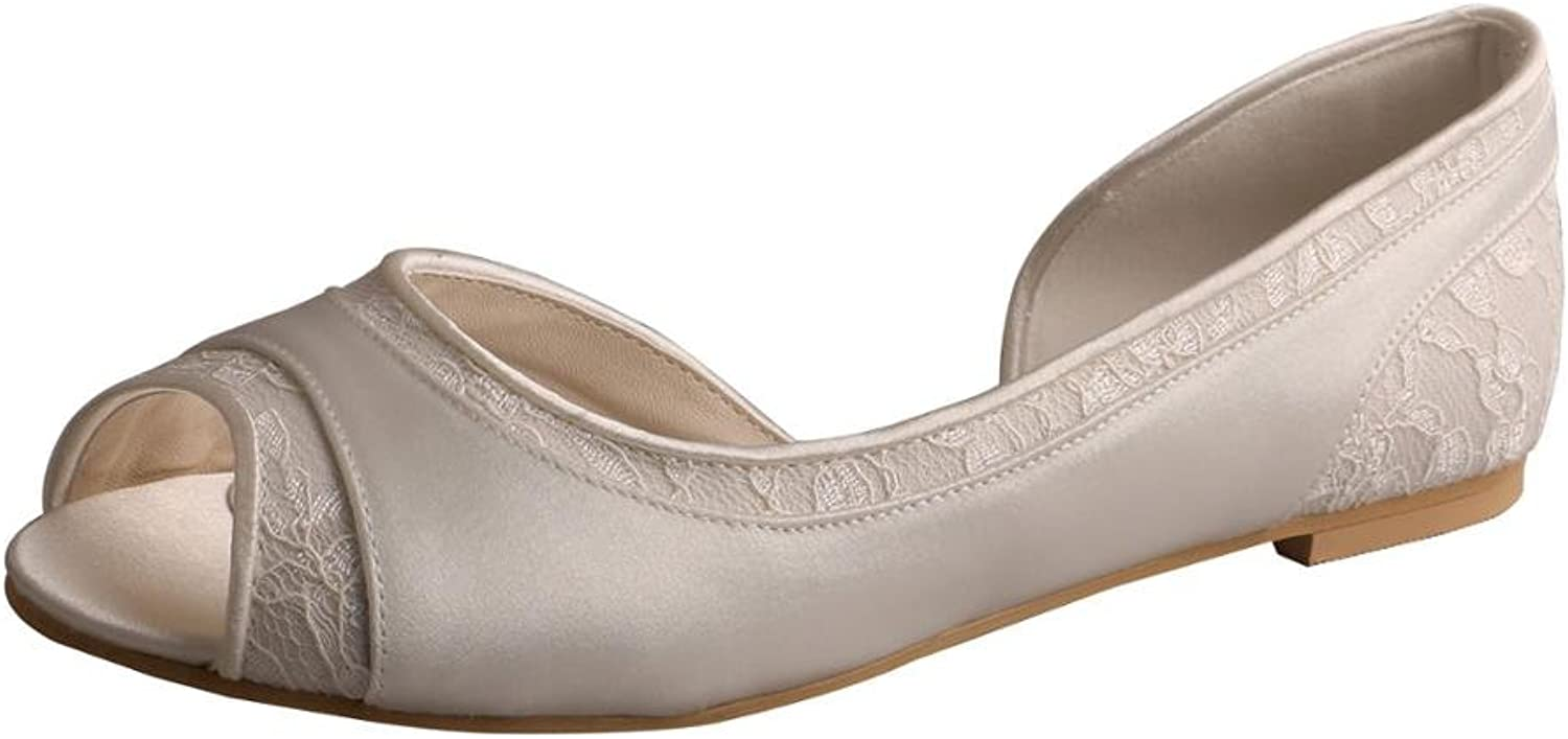 Wedopus MW060 D'Orsay Satin and Lace Open Toe Ballet Flat Women Wedding shoes for Bride