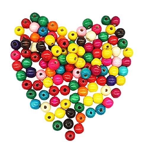 YYAOO 1000 cuentas sueltas de madera redondas de madera teñidas de color con agujero para hacer joyas de bricolaje (8 mm)