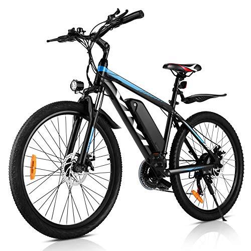 "VIVI 26 Zoll E Bike Herren Damen,350W Motor E-Mountainbike,36V/10,4AH Lithium-Ionen-Akku Ebike,25KM/H Elektrofahrrad Pedelec, 21-Gang Elektro Fahrrad(26"" blau)"