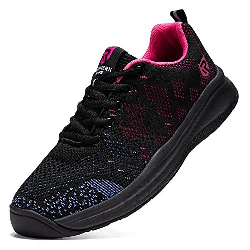 LARNMERN Zapatillas de Running para Hombre Antideslizante Zapatos para Correr y Asfalto Aire Libre y Deportes Calzado Ligero Transpirable(Morado 41)