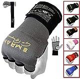 EMRAH Pro Training Gel de Boxe Gants Hand Wraps intérieurs Enveloppements à la Main MMA Fist Protector Bandages Mitts-X Boxing Wraps (Gris, Petit)