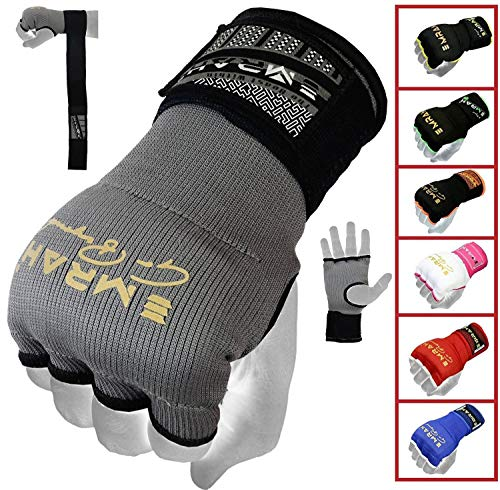 EMRAH PRO Boxing Armbänder Hand wickelt Boxing Elastic Innenhandschuhe MMA Handschuhe Daumenschlaufe (Grau, S)