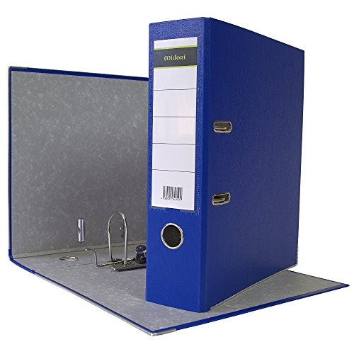 10 x Midori Ordner Breit im Din A4 Format 8 cm aus PP Kunststoff in Blau