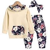 Arshiner Baby Girl 3Pcs Newborn Clothes Toddler Hooded Floral Sweatshirts Tops and Long Sleeve Pants with Handband Yellow