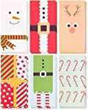 36-Pack Merry Christmas Greeting Cards - Xmas Money and Gift Card Holder Cards in 6 Cute Festive Designs - Bulk Assorted Winter Holiday Cards Box Set with Envelopes Included, 3.6 x 7.25 Inches