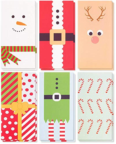 Character Christmas Money Greeting Cards Assortment with Envelopes, 6 Designs (3.6 x 7.24 In, 36 Pack)