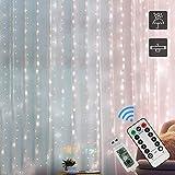 Cortina de Luces, Zorara Luz Cadena 3x2M 200 LEDs Luces de Cortina, Impermeable para Decoración de Interiores, Exterior, Boda, Navidad, Fiesta, Jardín, Casa Decoración, Blanco