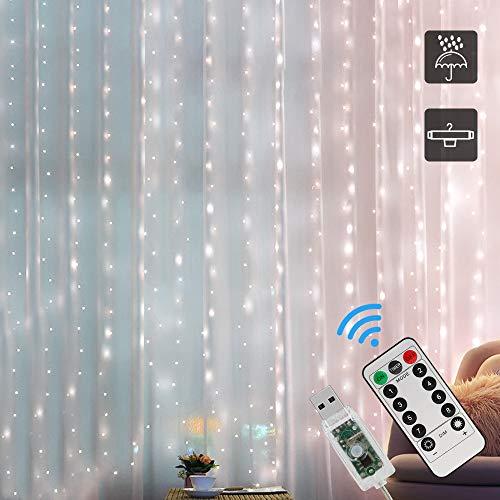 LED USB Lichtervorhang, Zorara 3x2M 200 LEDs Lichterkettenvorhang 8 Modi Fernbedien IP65 Wasserfest LED...