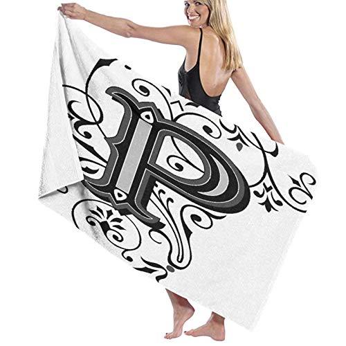 Grande Suave Ligero Toalla de Baño Manta,Esencia Remolinos Florales Flores Letras Iniciales Inspirado Barroco,Hoja de Baño Toalla de Playa por la Familia Hotel Viaje Nadando Deportes,52' x 32'