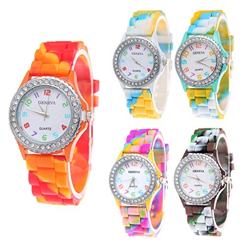 CdyBox Wholesale Watch Set Lot 5 Pack Rhinestone Colorful Silicone Jelly Wristwatch for Women Girls