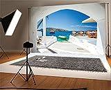 YongFoto 1,5x1m Fondo de Fotografia Playa Puerto Viejo de Ammoudi Debajo de Aldea Santorini Grecia Ocean Boat Mountain Telón de Fondo Fiesta Niños Boby Retrato Personal Estudio Fotográfico Accesorios