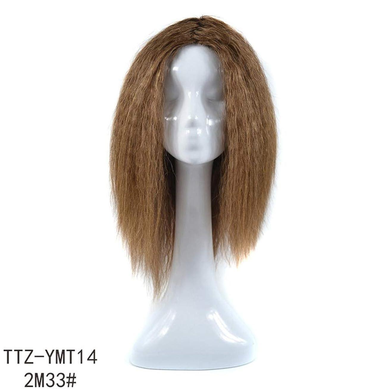 知らせる実際反響するYrattary 24インチダークブラウンリアルヘアコーンロングカーリーヘアー女性のための人工毛レースかつらロールプレイングかつら (色 : ブラウン, サイズ : 14 inch)
