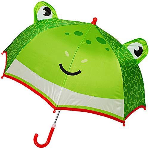 alles-meine.de GmbH 3D Effekt - Regenschirm / Kinderschirm - lustiger Frosch - Ø 70 cm / mit Einklemmschutz - Kinder Stockschirm - für Mädchen Jungen - mit Griff - Schirm Kinderr..