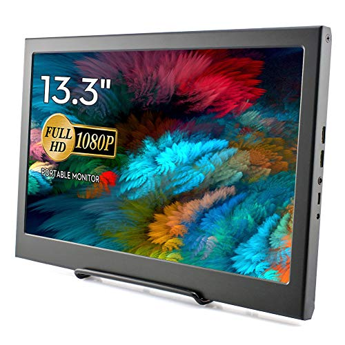 Tragbare IPS Monitor, Elecrow 13,3 Zoll LED Bildschirm Display 1920 * 1080p HDMI Monitor für Raspberry Pi 4B 3B 2B PC CCTV-Kamera Auto DSLR-Rückfahrkamera Xbox 360 Windows 7/8/10