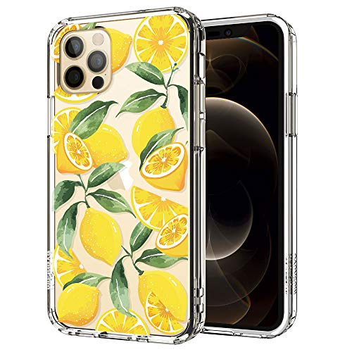 MOSNOVO Compatible for iPhone 12 Case & iPhone 12 Pro Case, Clear Lemon Pattern Print Design Girl Women with Transparent TPU Bumper Back Case Cover for iPhone 12/iPhone 12 Pro 6.1 Inch