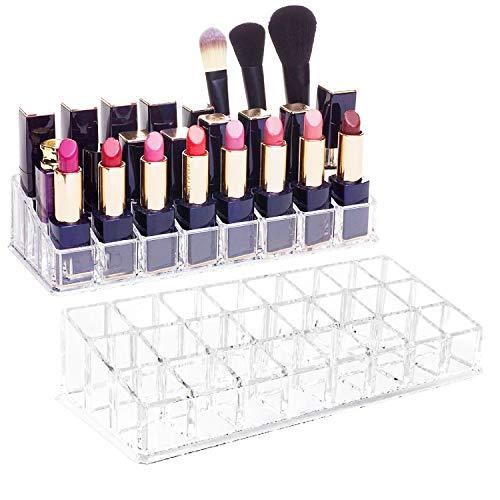 CAILI 24 Gitter Klar Lippenstift Halter Organizer Lippenstifthalter Display Holder Kosmetik Acryl...