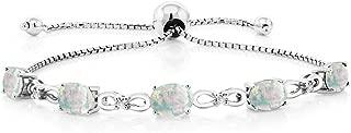 925 Sterling Silver Adjustable Diamond Tennis Bracelet Oval White Simulated Opal