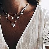 TseanYi - Collar con colgante de disco de lentejuelas plateadas, estilo vintage, para mujeres y niñas