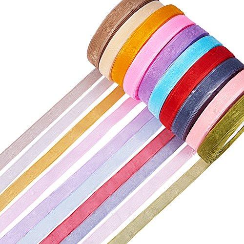 PandaHall - Organzaband Schleifenband Dekoband Geschenkband, Hochzeit Antennenband, Gemischte Farbe, 12 mm, 500 Yard